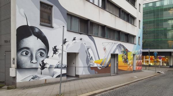 Außergewöhnliches Graffiti im Quartier